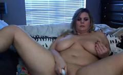 Fat And Busty Blonde Masturbates