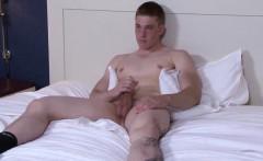 Ginger cadet hunk jerking his cock
