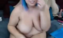Blue Haired BBW Webcam Girl Cumming