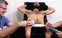 Exposed Tommy gets tickle torture and brush treatment