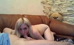 Fabulous blonde teen with a spicy ass displays her blowjob