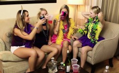 Hard partying gets these ladies laid in the apartment