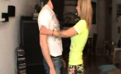 Sexy slender blonde Nicole embarks on her first ballbusting