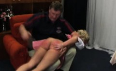 Blonde girl punished by daddy