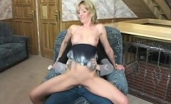 Busty blonde MILF gives him head before she rides like a cowgirl