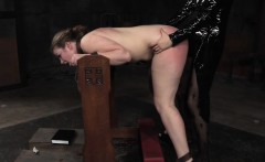 Bentover sub straponfucked and flogged