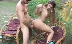 Long-haired ginger tranny gets her ass pounded in an outdoor anal sex session