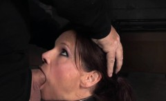 Restrained sub gagging on masters cocks