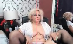 Mature blonde glasses making an erotic show