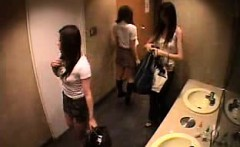 Hidden camera is filming a gal in the bathroom getting chan