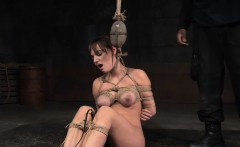 Bonded slave pussy toyed before chokeplay