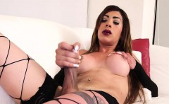 Shemale strangling her cock solo