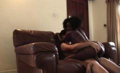 African slut rides my hard boner like crazy on sofa
