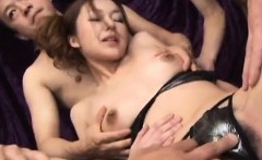 Sakura Hirota finger fucked then pumped by two dicks