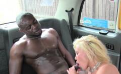 Huge tits blonde cab driver has interracial