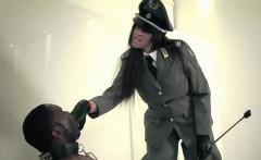 Uniform mistress cumdrenching her black slave