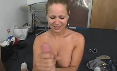 Bitch acquires hard strapon in her possession for a blowjob