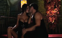 Busty and slim stunner rides a dick