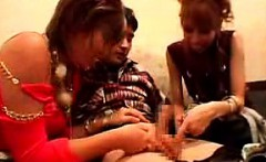 Provoking Asian girls reveal their amazing blowjob and hand