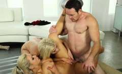 Busty massage beauties cockriding in threeway