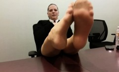 The Toes Playing In Nylons of Jenn