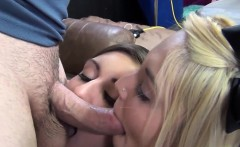 Two hot babes suck two big cocks