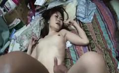Petite Oriental slut with tiny boobs takes a deep banging o
