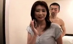 Attractive Japanese lady brings her fantasy with two guys t