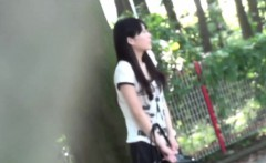 Japanese teen squatting