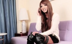 Redhead ladyboy fingered in her tight ass