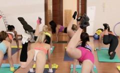 Three lesbians having sex after fitness class