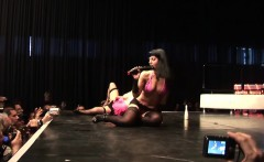 threesome sex show on public stage