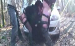 French mature Brigitte gangbanged in stockings