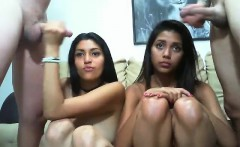 Delicious brunette in a teen group sex video