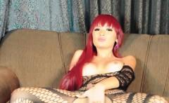 Redhead ladyboy goddess wanks till cum solo