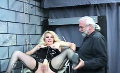 Nude woman bondage at home with horny man