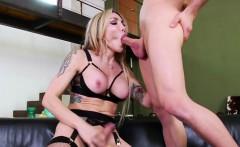 Tranny Eva deep throats a monster cock