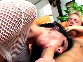 Anal whore fucks in hard threesome and gets pussy and