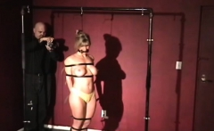 Nipple torture and vibrator play for ballgagged wench
