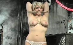 Chick gets totally bounded and disciplined in a bdsm scenery