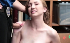 Geek shoplifter chick gets punished with a huge cock