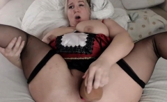 Naughty Blonde BBW Slit Dildoing Sex Video