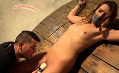 Euro bdsm sub restrained for toying by dom