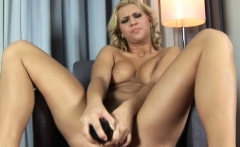 solid blonde linda creaming for a black brutal dildo