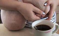 Roxanne Miller Put boobs-milk in her coffee