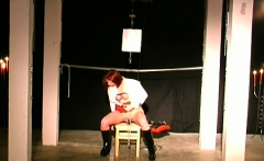 Playgirl gets tits tied hard in complete bondage show