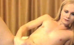 Tranny With Small Tits Is Stroking Big Cock