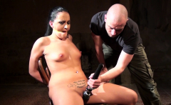 Smalltits sub toyed and gagged by dom