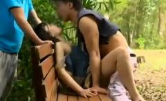 Hardcore outdoor threesome sexcapade