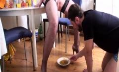 Nylon Dominas feeding slaves